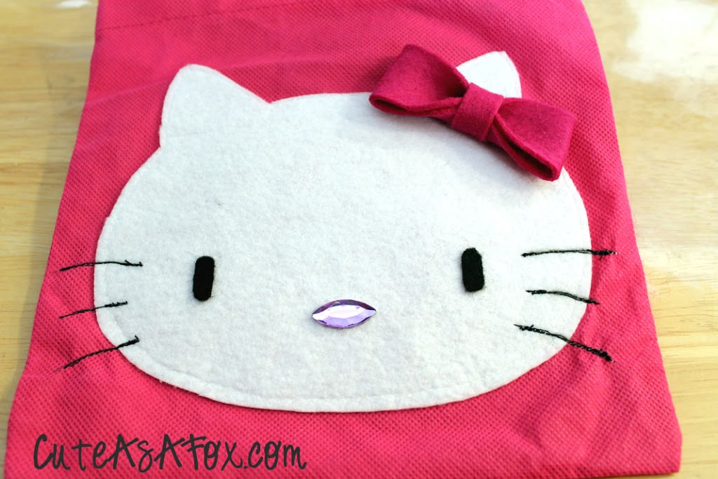 Hello kitty applique gift bag