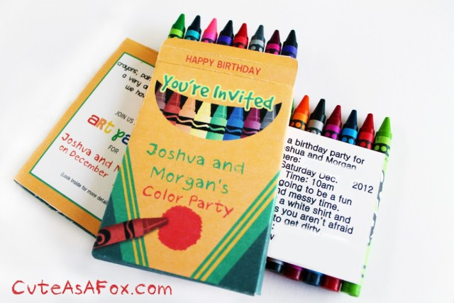 Crayon box invitation for an art or color themed party.