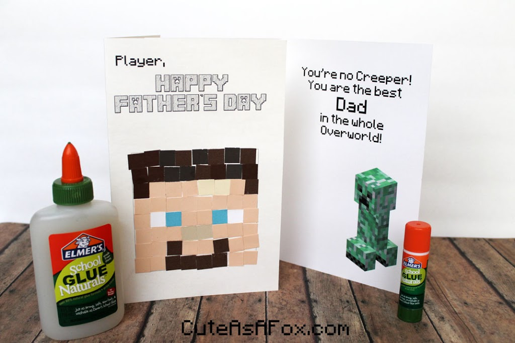 Minecraft Father's Day Card with Elmer's Naturals