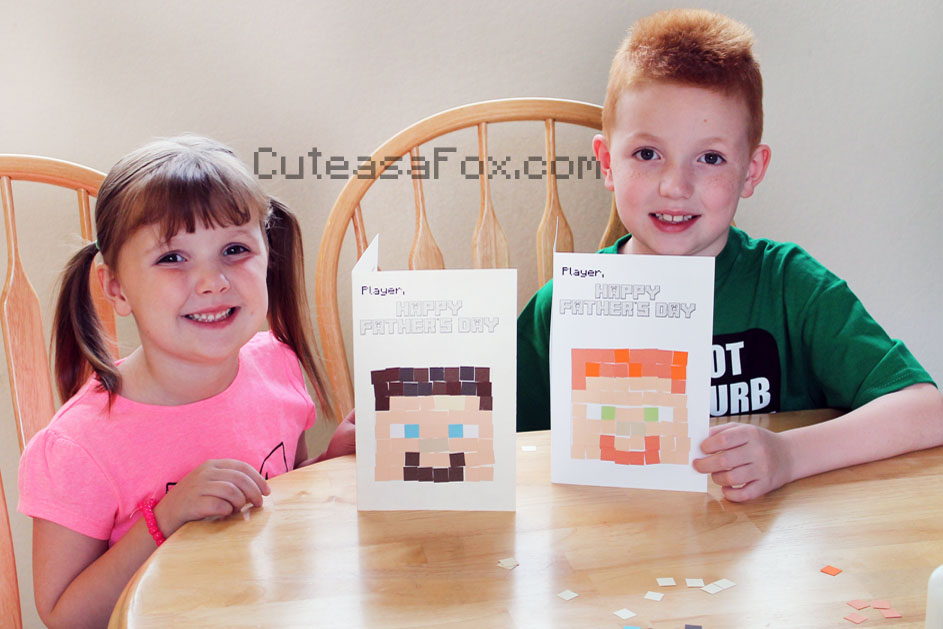 Minecraft Father's Day Card finished product