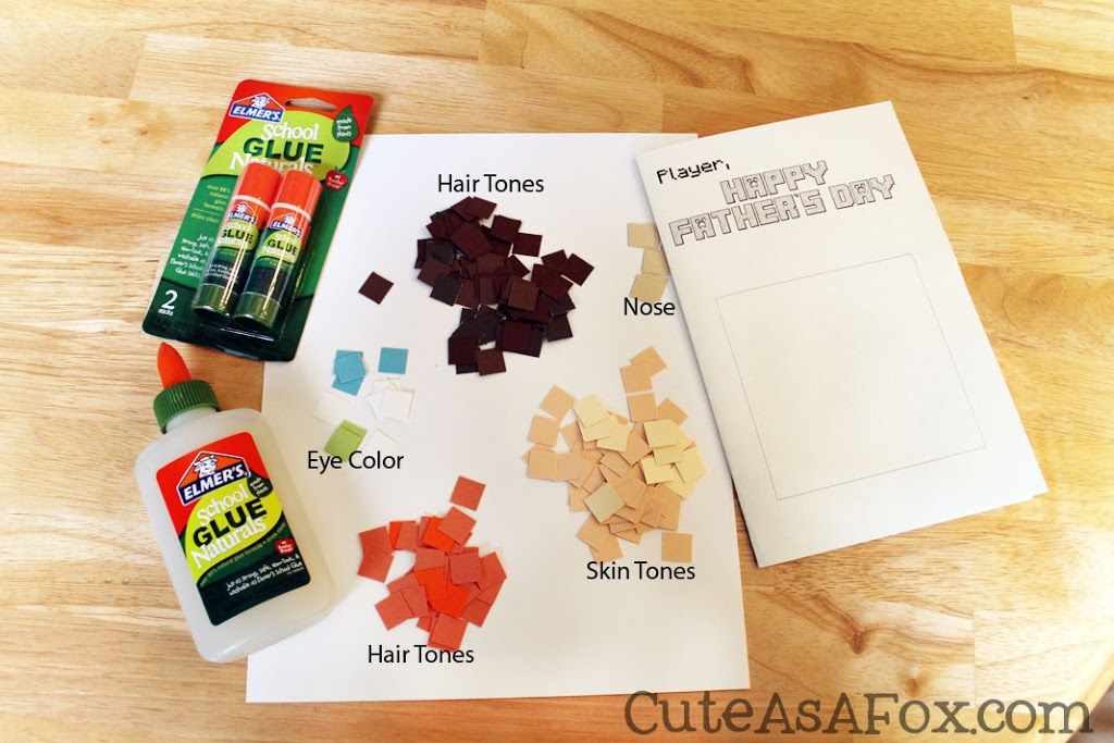 Minecraft Father's Day Card supplies