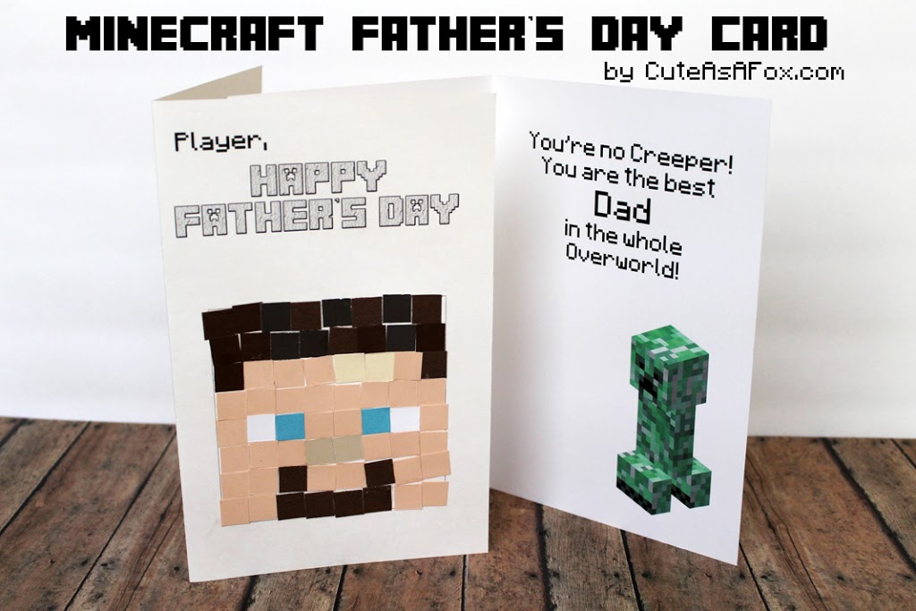 Minecraft Father's Day Cards