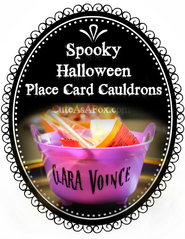 Halloween Place Card Cauldrons with Spooky Names