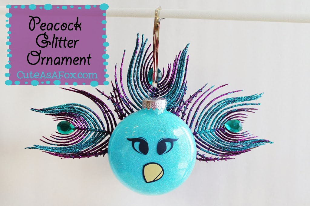 Peacock Glitter Ornament