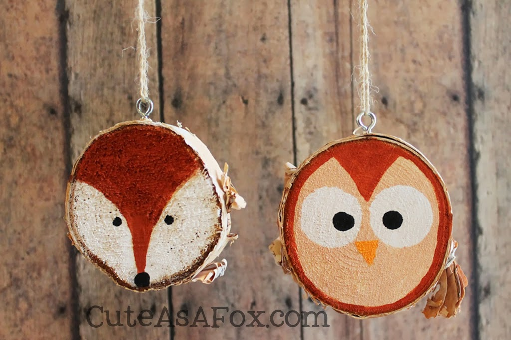 rustic hand painted woodland creature ornaments - Wooden Christmas Ornaments To Paint