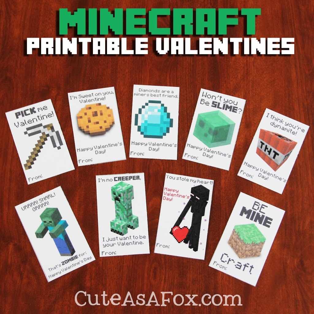 picture about Minecraft Printable Valentines known as Printable Minecraft Valentines