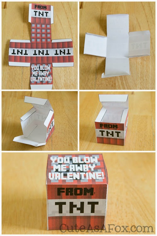 image regarding Minecraft Valentine Box Printable titled Minecraft TNT Box Valentines Totally free Printable