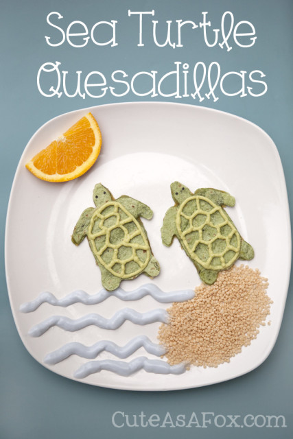 Kids Lunch Recipes: Sea Turtle Quesadillas. Make a fun and healthy kids lunch.
