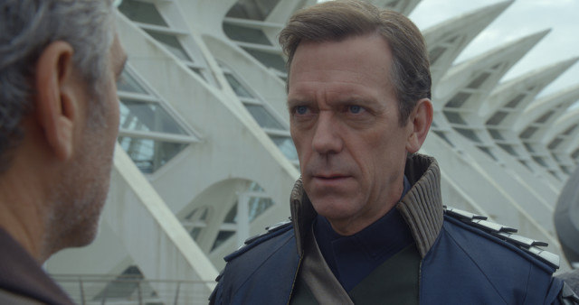 Disney's TOMORROWLAND L to R: Frank Walker (George Clooney) and David Nix (Hugh Laurie)  Ph: Film Frame ©Disney 2015