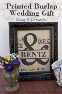 Printed Burlap Mr. & Mrs. Framed Art