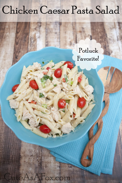 Chicken Caesar Pasta Salad - perfect for your next potluck.
