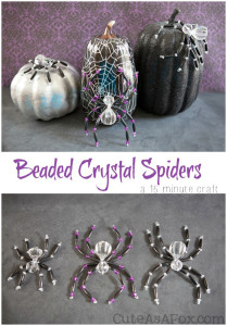 Beaded Crystal Spiders – a quick Halloween craft