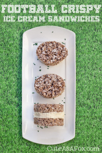 Football Rice Crispy Ice Cream Sandwiches