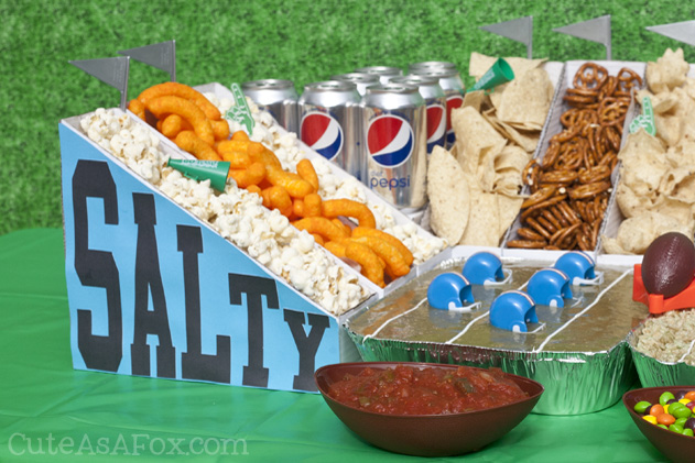 How to Build a Snack Stadium - Sweet vs Salty. Serve all your favorite sweet and salty snacks for the big game.