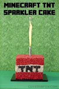 Minecraft Birthday Party : TNT Sparkler Cake
