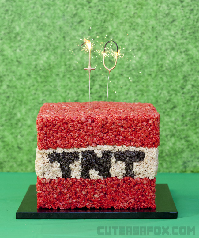 Minecraft Party TNT Sparkler Cake - Create a giant rice crispy TNT block and make it really shine with a cake sparkler. Minecraft fans young and old would love it for their Minecraft birthday.