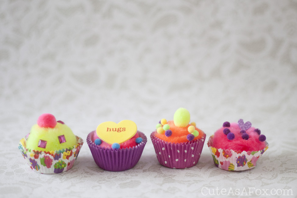 Pom Pom Cupcake Kids Valentine Craft - This cute and simple kids craft is a perfect alternative to sugary Valentines.