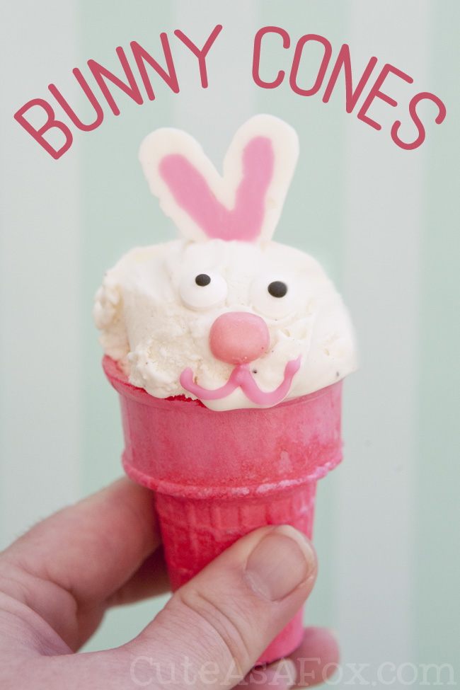 Bunny Cones Recipe - Let me show you how to turn an ordinary ice cream cone into a fun and festive bunny! Perfect for Easter!