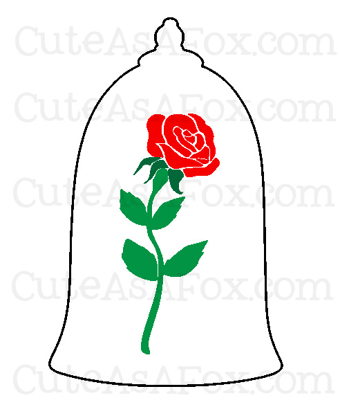 Beauty and the beast rose clipart