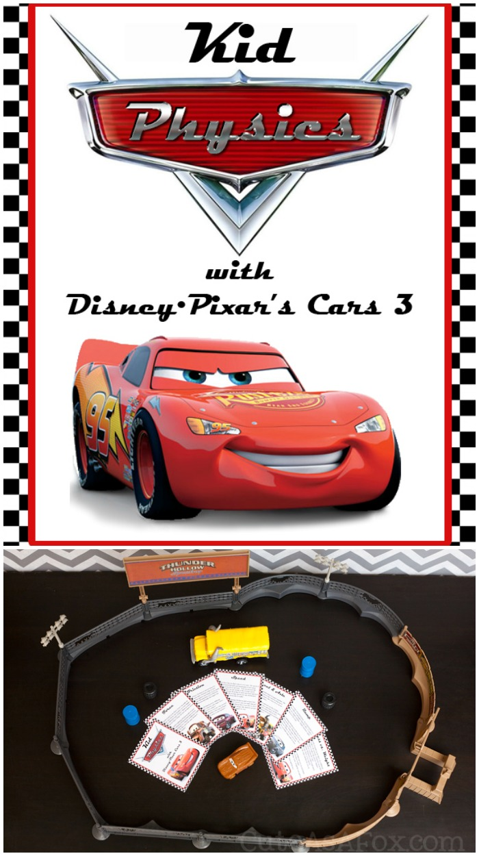 Teach Physics to kids with free printable physics cards inspired by Disney•Pixar's Cars 3 . The cards explain basic physics concepts and provide demonstration and activities and discussion starters. Great for kids of all ages.
